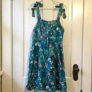 Hot Topic Teal Bones & Florals Button-Front Dress